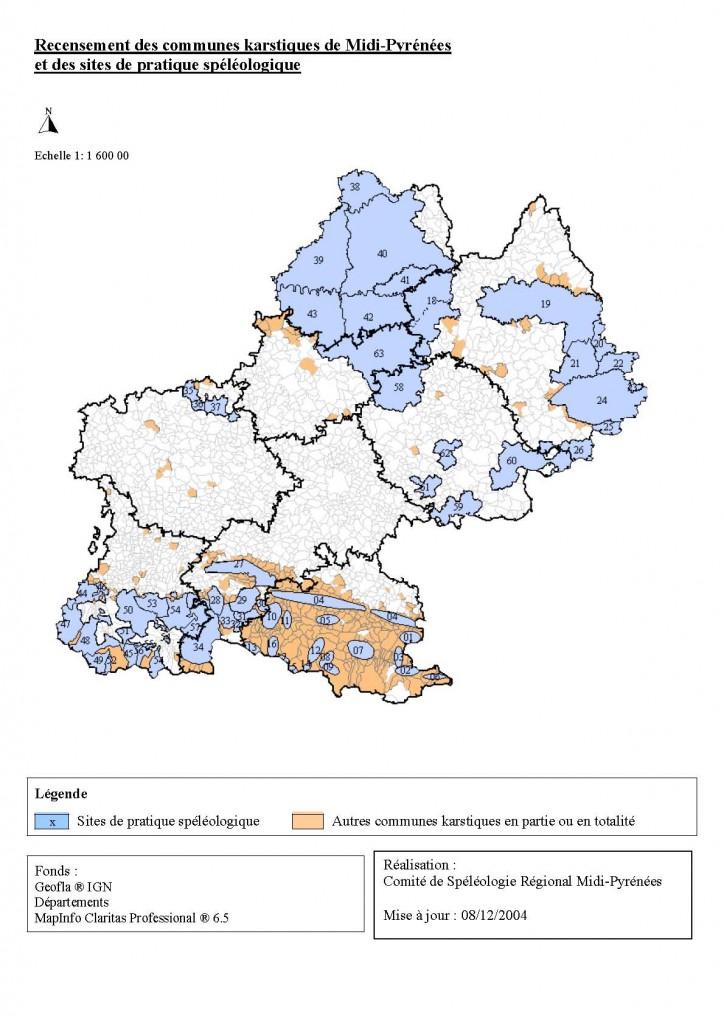 Carte des massifs karstiques de Midi-Pyrénées
